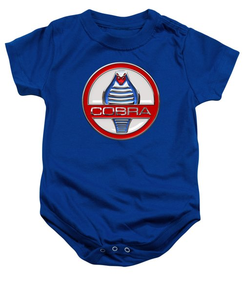 Shelby Ac Cobra - Original 3d Badge On Blue And White Baby Onesie by Serge Averbukh