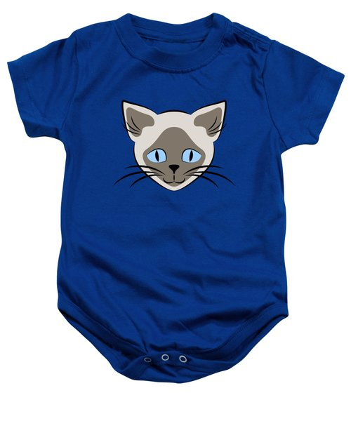 Siamese Cat Face With Blue Eyes Light Baby Onesie
