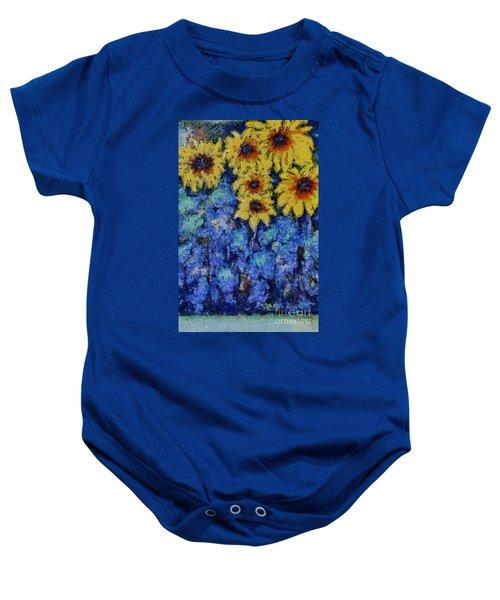 Six Sunflowers On Blue Baby Onesie