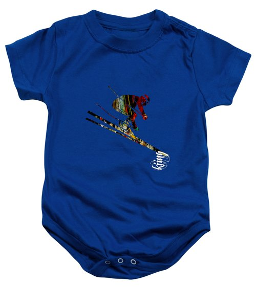 Skiing Collection Baby Onesie by Marvin Blaine