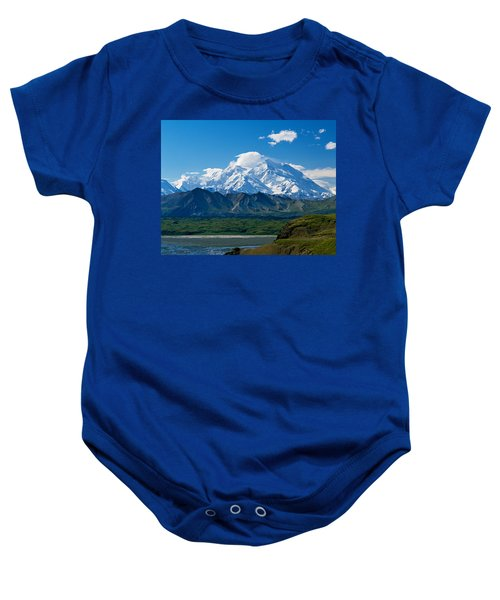 Snow-covered Mount Mckinley, Blue Sky Baby Onesie