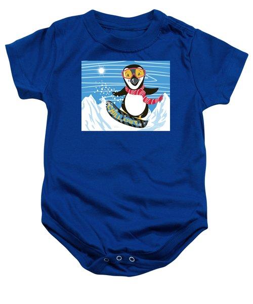 Snowboarding Penguin Baby Onesie
