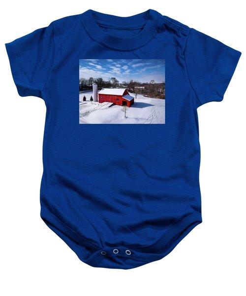 Snowy Barn Baby Onesie