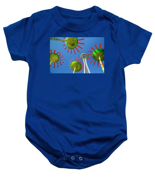 Baby Onesie featuring the photograph Sonic Bloom In Seattle Center by Adam Romanowicz