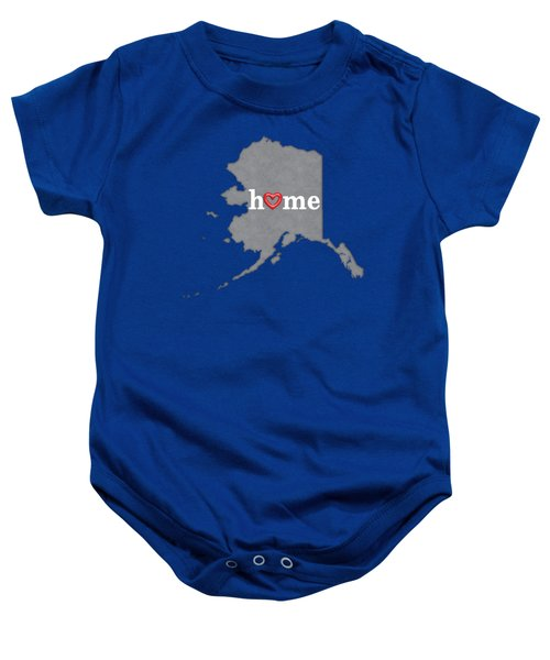 State Map Outline Alaska With Heart In Home Baby Onesie