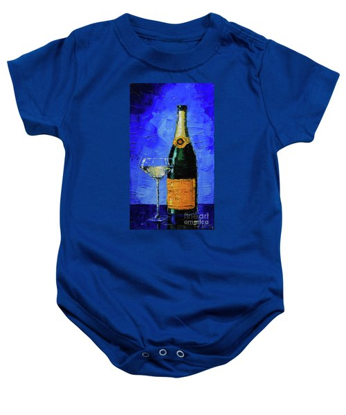 Still Life With Champagne Bottle And Glass Baby Onesie