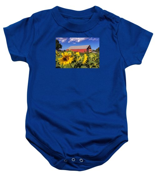 Sunflower Red Barn Baby Onesie