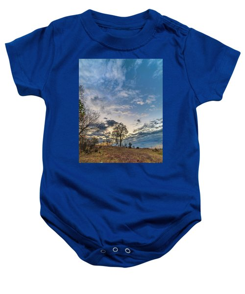 Sunrise On The Back Hill Baby Onesie