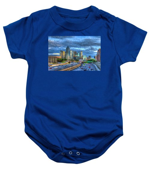 Sunset Blue Glass Reflections Atlanta Downtown Cityscape Art Baby Onesie