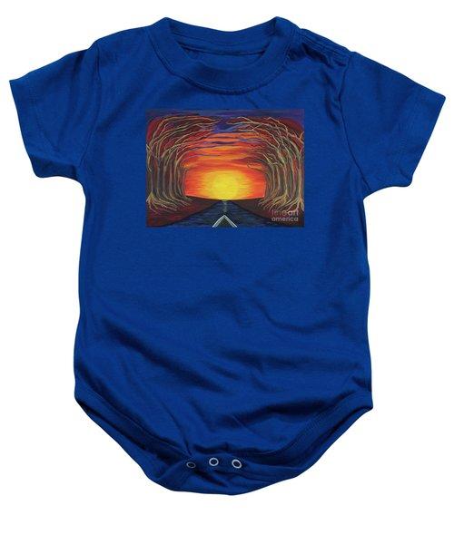 Treetop Sunset River Sail Baby Onesie