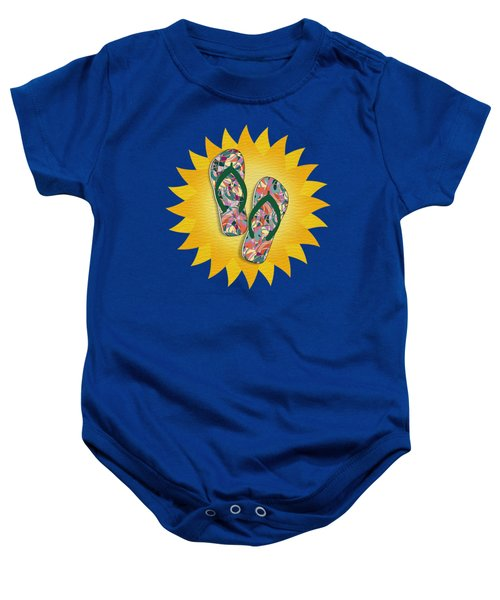 Sunshine And Colorful Abstract Flip-flops  Baby Onesie