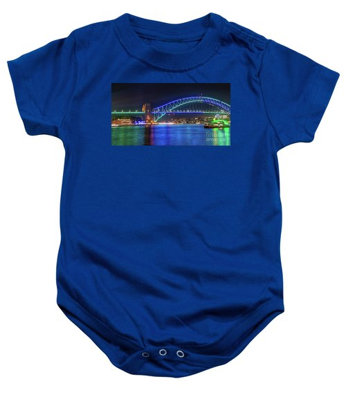 Sydney Harbour Green And Blue By Kaye Menner Baby Onesie