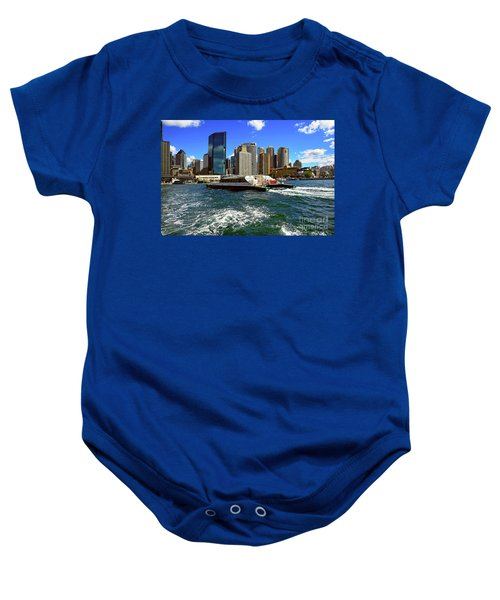 Sydney Skyline From Harbor By Kaye Menner Baby Onesie