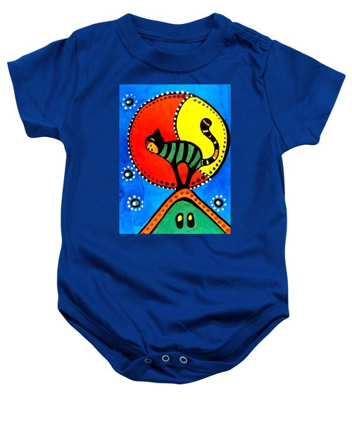Baby Onesie featuring the painting The Cat And The Moon - Cat Art By Dora Hathazi Mendes by Dora Hathazi Mendes