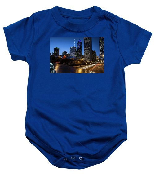 The East Side Skyline Of Chicago  Baby Onesie