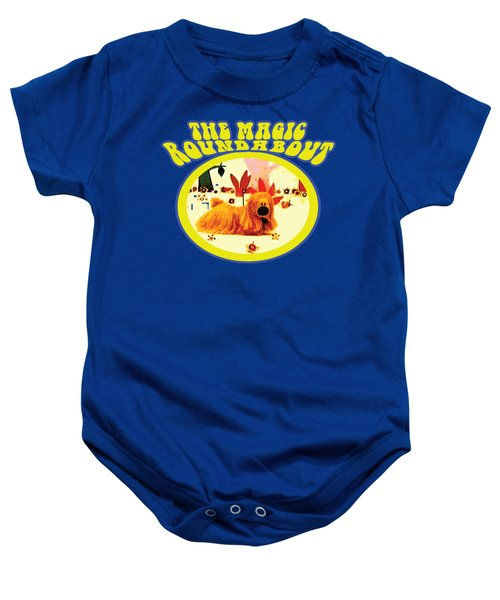 The Magic Roundabout Retro Design Hippy Design 60s And 70s Baby Onesie by Paul Telling