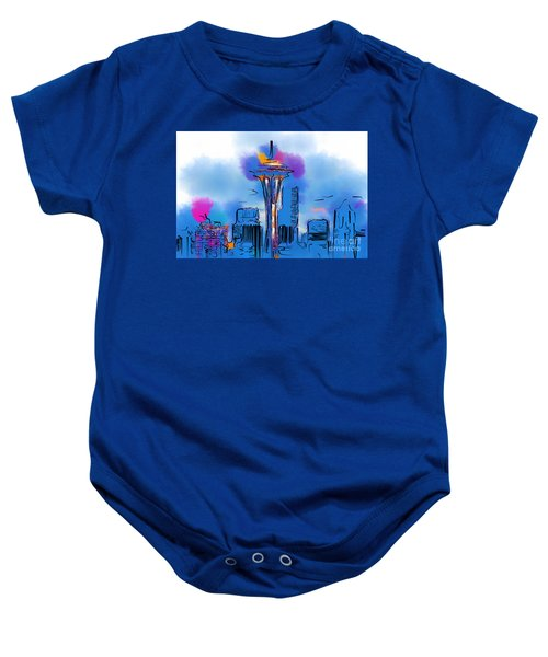 The Space Needle In Soft Abstract Baby Onesie