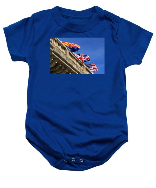 Three Flags At London Bridge Baby Onesie