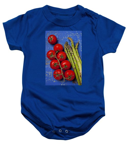 Tomatoes And Asparagus  Baby Onesie by Garry Gay