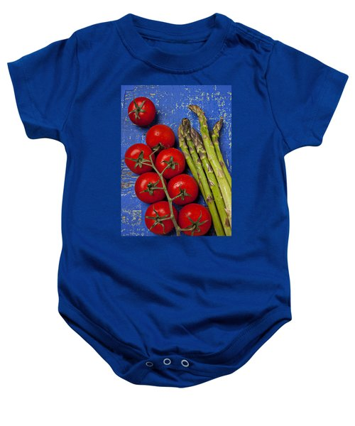 Tomatoes And Asparagus  Baby Onesie