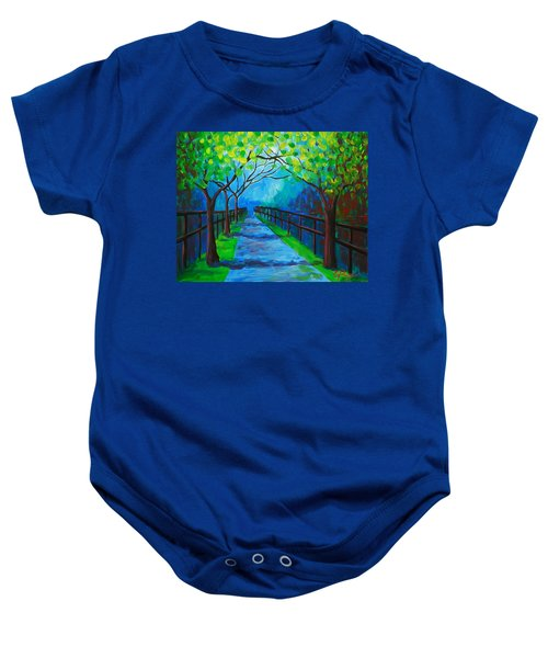 Tree Lined Fence Baby Onesie