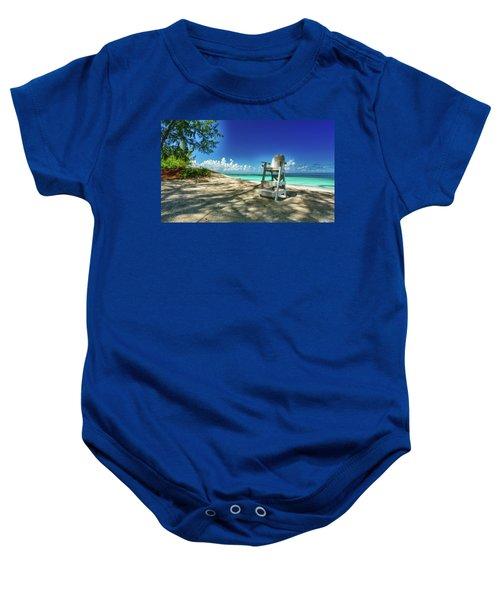 Tropical Beach Chair Baby Onesie