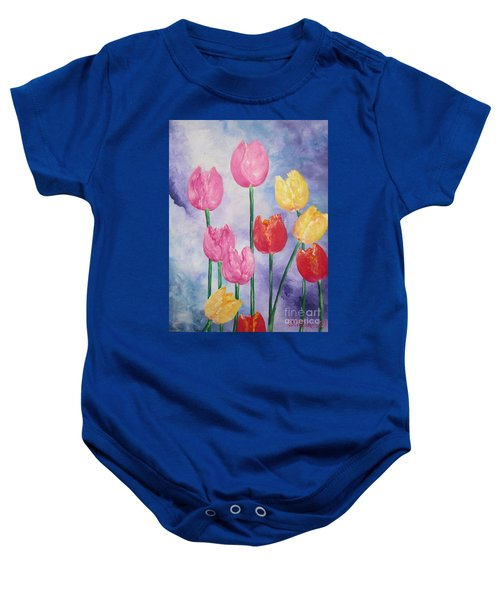 Ten  Simple  Tulips  Pink Red Yellow                                Flying Lamb Productions   Baby Onesie