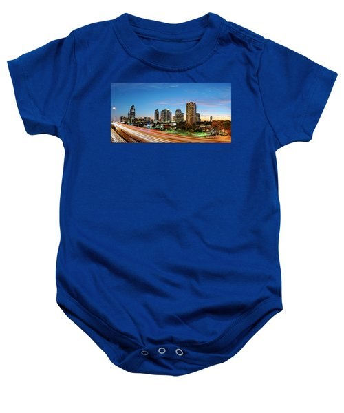 Twilight Panorama Of Uptown Houston Business District And Galleria Area Skyline Harris County Texas Baby Onesie