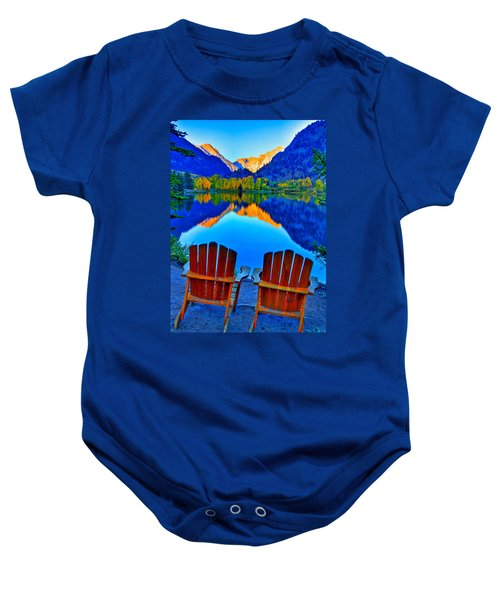 Two Chairs In Paradise Baby Onesie