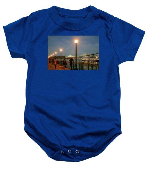 Viewing The Bay Bridge Lights Baby Onesie