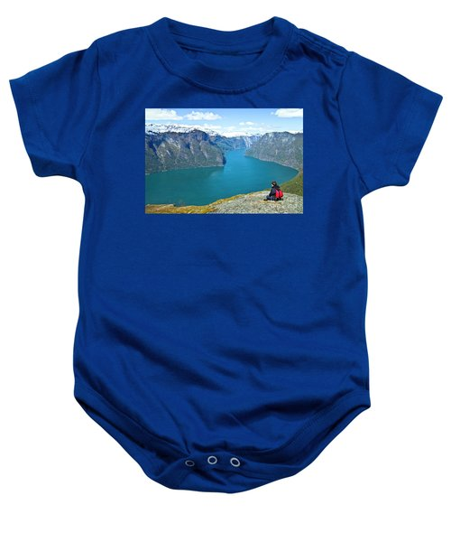 Baby Onesie featuring the photograph Visitor At Aurlandsfjord by Heiko Koehrer-Wagner