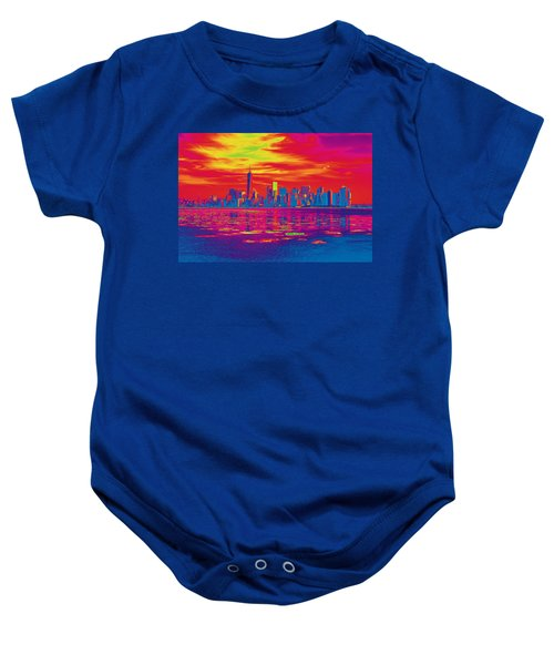 Vivid Skyline Of New York City, United States Baby Onesie