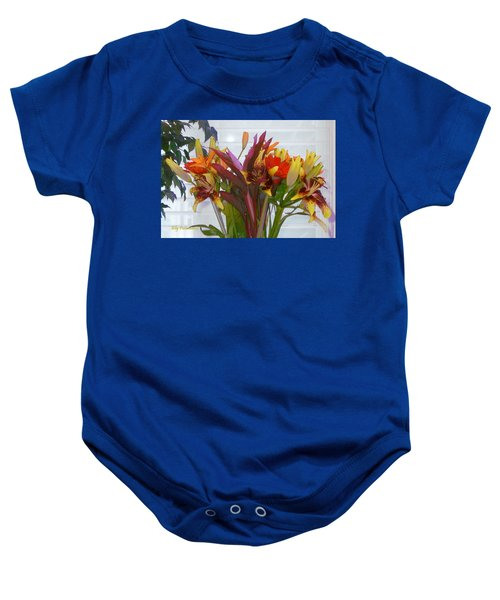Warm Colored Flowers Baby Onesie