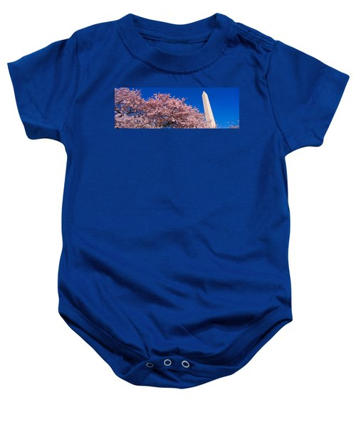 Washington Monument & Spring Cherry Baby Onesie by Panoramic Images