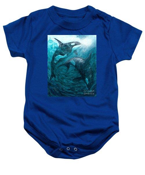 Whales  Ascending  Descending Baby Onesie