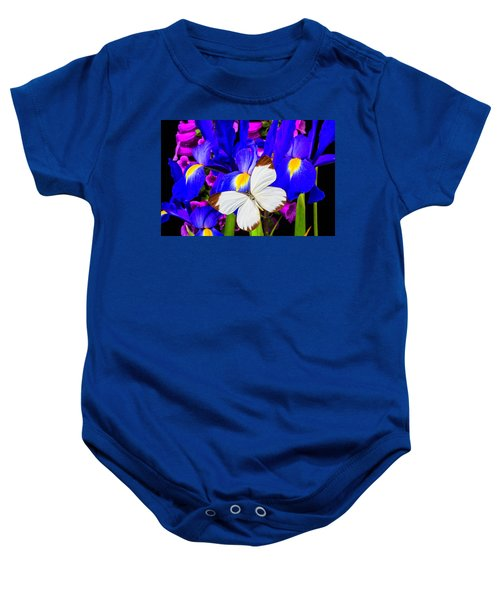 White Butterfly On Blue Iris Baby Onesie