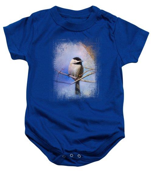 Winter Morning Chickadee Baby Onesie by Jai Johnson