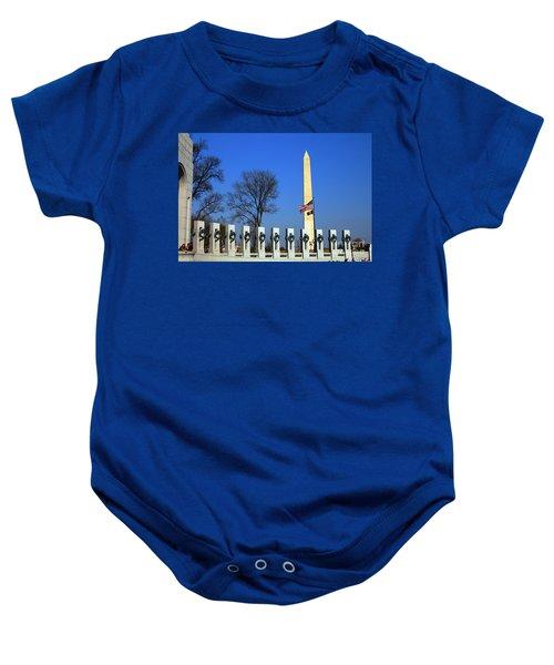 World War II Memorial And Washington Monument Baby Onesie
