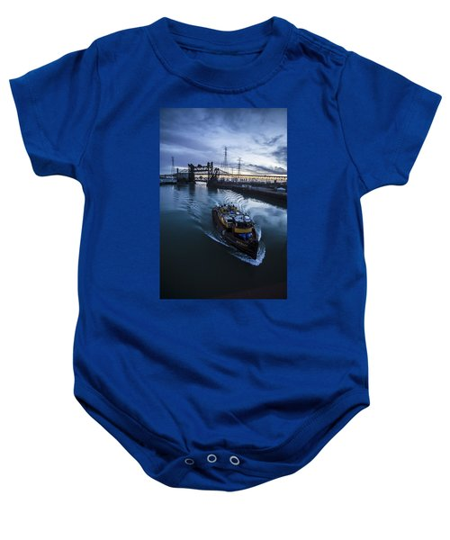 Yellow Tug Boat Approaching  Baby Onesie