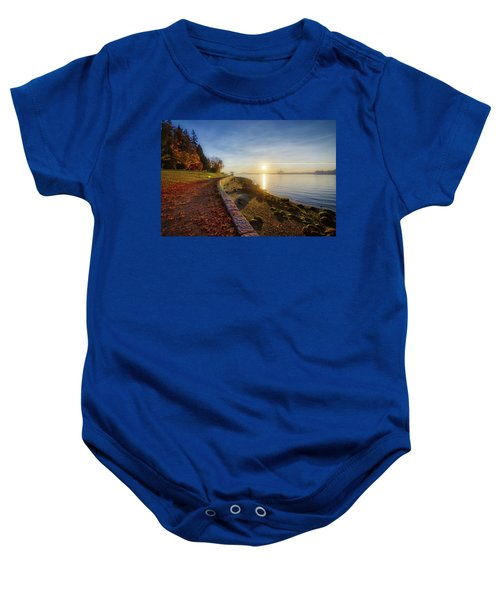 Colorful Autumn Sunrise At Stanley Park Baby Onesie