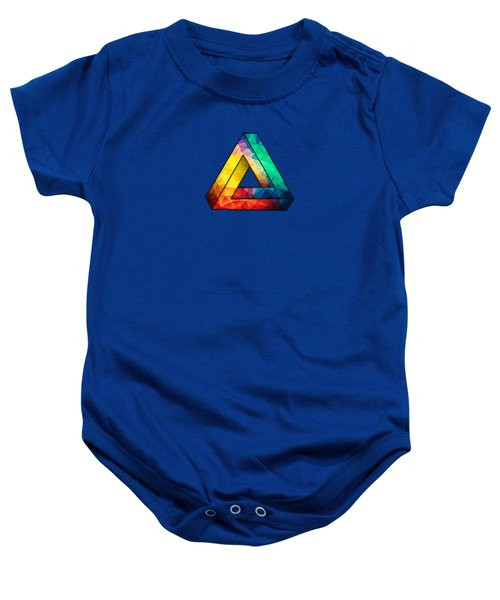 Abstract Polygon Multi Color Cubism Low Poly Triangle Design Baby Onesie