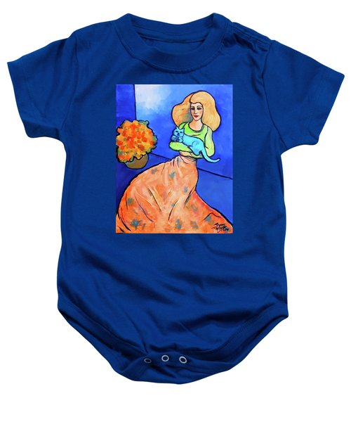 Lady With Blue Cat Baby Onesie