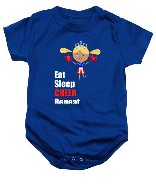 Cheerleader And Pom Poms With Text Eat Sleep Cheer Baby Onesie