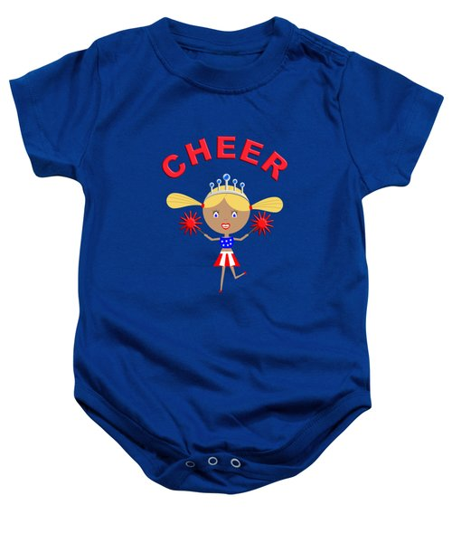 Cheerleader With Pom Poms And Cheer In Arched Text  Baby Onesie