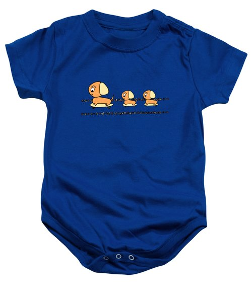 Cute Cartoon Dogs On Skateboards By The Beach Baby Onesie