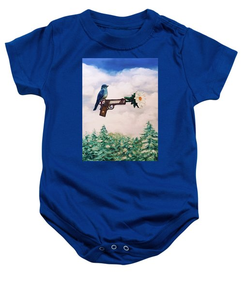 Flower In A Gun- Bluebird Of Happiness Baby Onesie