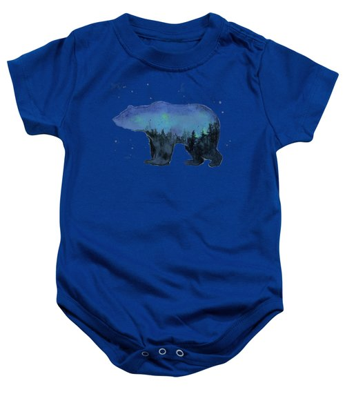 Forest Bear Watercolor Galaxy Baby Onesie