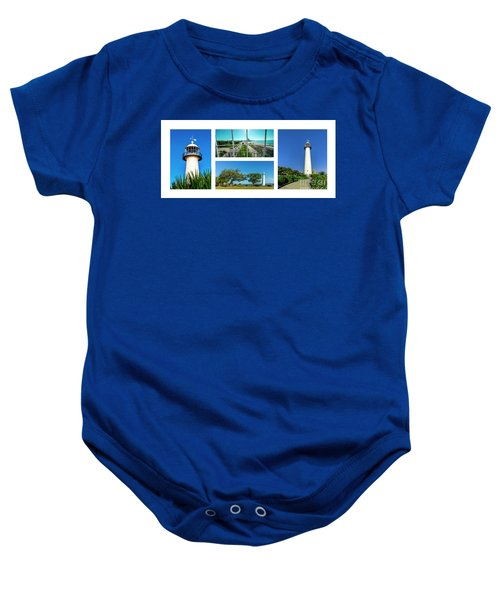 Grand Old Lighthouse Biloxi Ms Collage A1a Baby Onesie