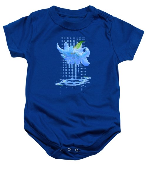 In The Cool Of The Night 3 - Blue Amaryllis Baby Onesie
