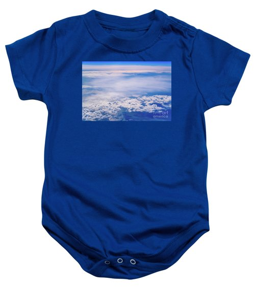 Intense Blue Sky With White Clouds And Plane Crossing It, Seen From Above In Another Plane. Baby Onesie
